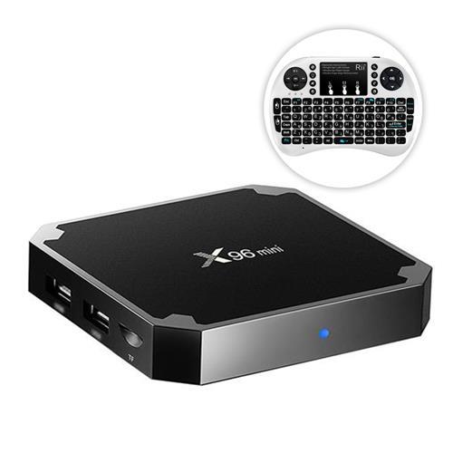 X96 MINI Android 7.1.2 Amlogic S905W 4K KODI 17.3 TV BOX Media Player 2GB/16GB + Rii Wireless Hebrew Keyboard White