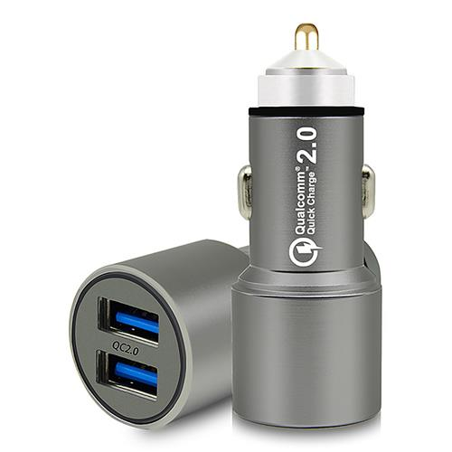 JDB 6600 QC 2.0 Dual USB Quick Charge Smart Car Charger Adapter Car Lighter Multi-Protections - Grey
