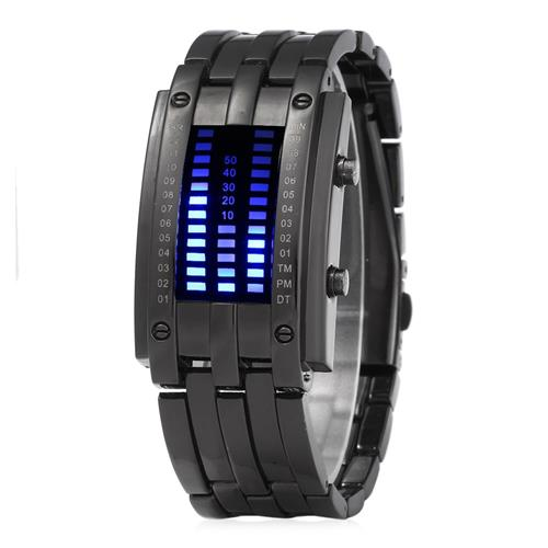 ساعة رقمية خاصة مربعة كول ثنائية الموازين LED للنساء - أسود
