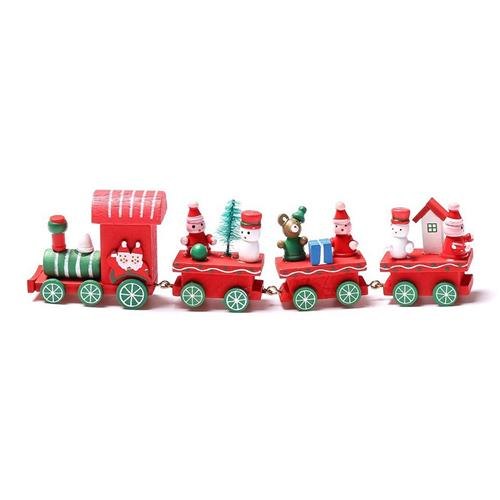 4 Piece Wooden Christmas Santa Tree Train Toy Gift for Christmas - Red