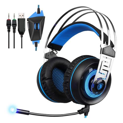 Sades A7 USB 3.5mm Gaming Headphones with Mic 7.1 Surround Sound Blue LED Light for Xbox One - Blue