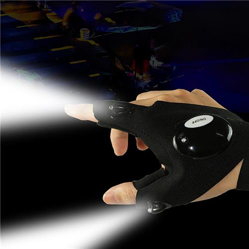 LED Half-finger Glove Outdoor Lighting Portable Convenient For Night Running Riding Hunting Camping - Black Right Hand