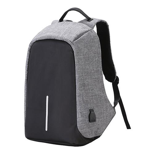Anti-theft Lightweight Backpack With USB Charging Port Nylon Waterproof Bag For Men Women- Gray