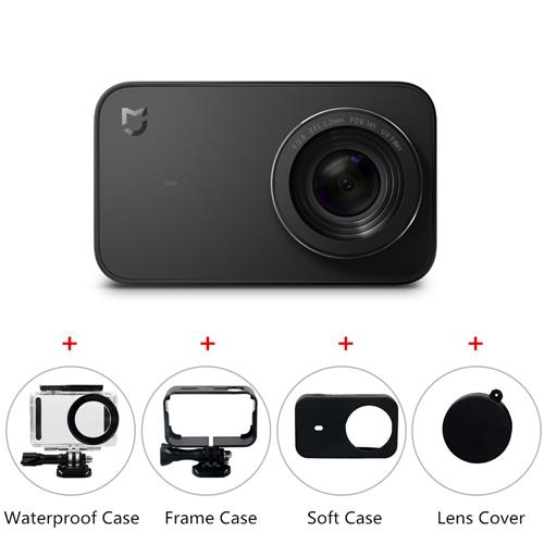 Xiaomi Mijia 4K Ambarella A12S75 Sony IMX317 Action Camera International Version - Black + Waterproof Case + Protective Frame Housing Case + Protective Soft Rubber Case + Lens Cover