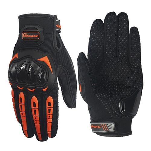 Riding Tribe MCS-17 Long Finger Motorcycle Racing Gloves Anti-slip Touch Screen Gloves for Motorbike L - Orange
