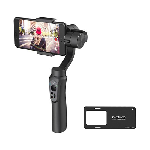 Zhiyun Smooth Q 3-Axis Handheld Brushless Gimbal + Mounting Plate for Smartphone within 6.0 Inch Gopro 3/4/5 Xiaoyi Yi 4K SJ4000 - Jet Black