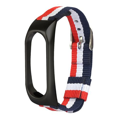 Replacement Band Three Colors Strip Canvas Band Zircaloy Cladding Black Shell for Xiaomi Smart Band 2 - Red/White/Bule