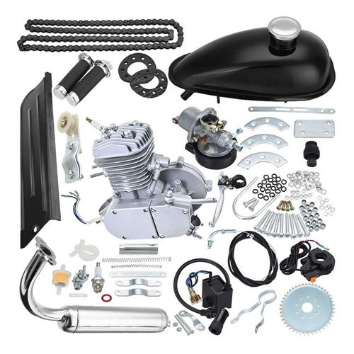 SW-BE80 80cc 2-stroke Bicycle Motorized Kit Muffler Motorized Accessories Set - Silver