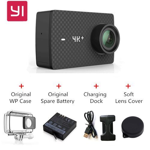 [Package D] YI 4K+ Action Camera International Version - Black + Original Waterproof Case + Original Spare Battery + Charging Dock + Soft Lens Cover