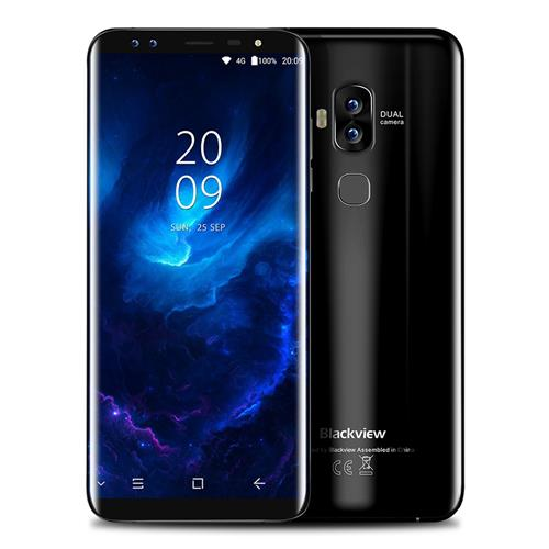 Blackview S8 5.7 Inch Smartphone 18:9 HD+ Screen 4GB 64GB MT6750T Octa Core Four Camera Android 7.0 Touch ID 3180mAh - Black