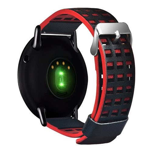 Leather Dual Color with Hole Replacement Band for Xiaomi HUAMI AMAZFIT Pace Smart Sports Watch - Black+Red