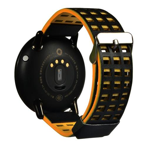 Leather Dual Color with Hole Replacement Band for Xiaomi HUAMI AMAZFIT Pace Smart Sports Watch - Black+Yellow