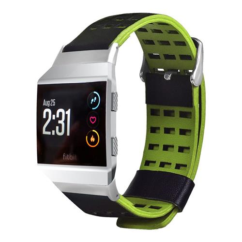 Dual Color Business Style Replacement Smart Watch Band for Fitbit Ionic - Black+Green