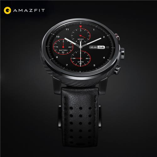 Original Xiaomi HUAMI AMAZFIT Stratos⁺ Smart Sports Watch 2S Version Support Strava 1.34 Inch 2.5D Sapphire Screen 5ATM Water Resistant GPS Firstbeat Swimming Mode With Leather Strap - Black