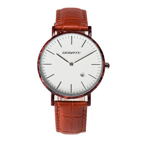بيديت شنومكساج رجال كوارتز ساعة مقاومة للماء ساعة اليد جلدية باند -Red