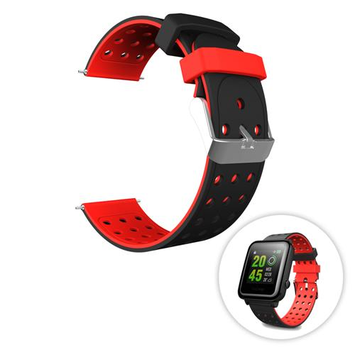 Universal Replacement Silicon Watch Bracelet Strap 20mm Two-tone Round Hole for Xiaomi Huami Amazfit Bip Ticwatch 2 Weloop Hey 3S - Black+Red