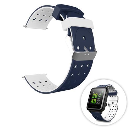Universal αντικατάσταση πυριτίου ρολόι βραχιόλι ταινία λουρί 20mm Δύο τόνος στρογγυλή τρύπα για Xiaomi Huami Amazfit Bip Ticwatch 2 Weloop Hey 3S - Μπλε + λευκό