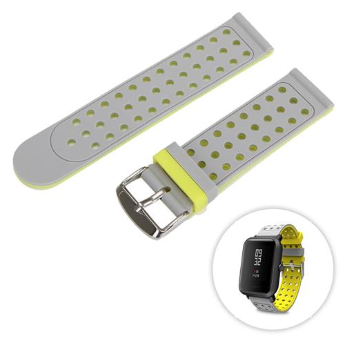 Universal Replacement Silicon Watch Bracelet Strap Band 20mm Two-tone Round Hole for Xiaomi Huami Amazfit Bip Ticwatch 2 Weloop Hey 3S- Gray+Yellow