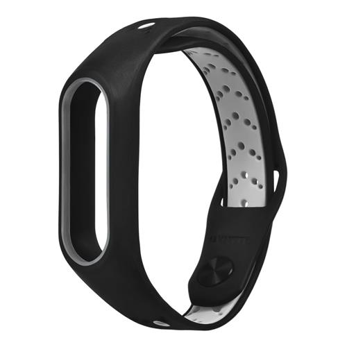 Replacement Wrist Strap Wearable Silicon Wristband For Xiaomi MI Band 2 Smart Bracelet - Black+Gray фото