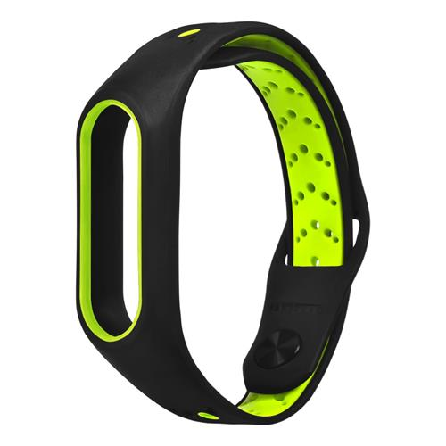 Replacement Wrist Strap Wearable Silicon Wristband For Xiaomi MI Band 2 Smart Bracelet - Black+Green