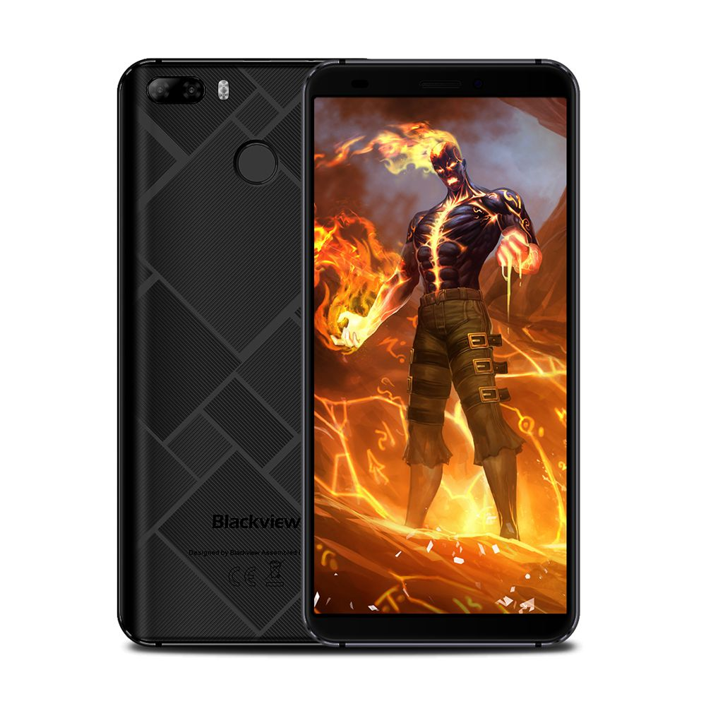 Blackview S6 5.7 Inch Smartphone 18:9 Full Screen 2GB 16GB MTK6737VWH Quad Core Android 7.0 Touch ID 4180mAh Battery - Black