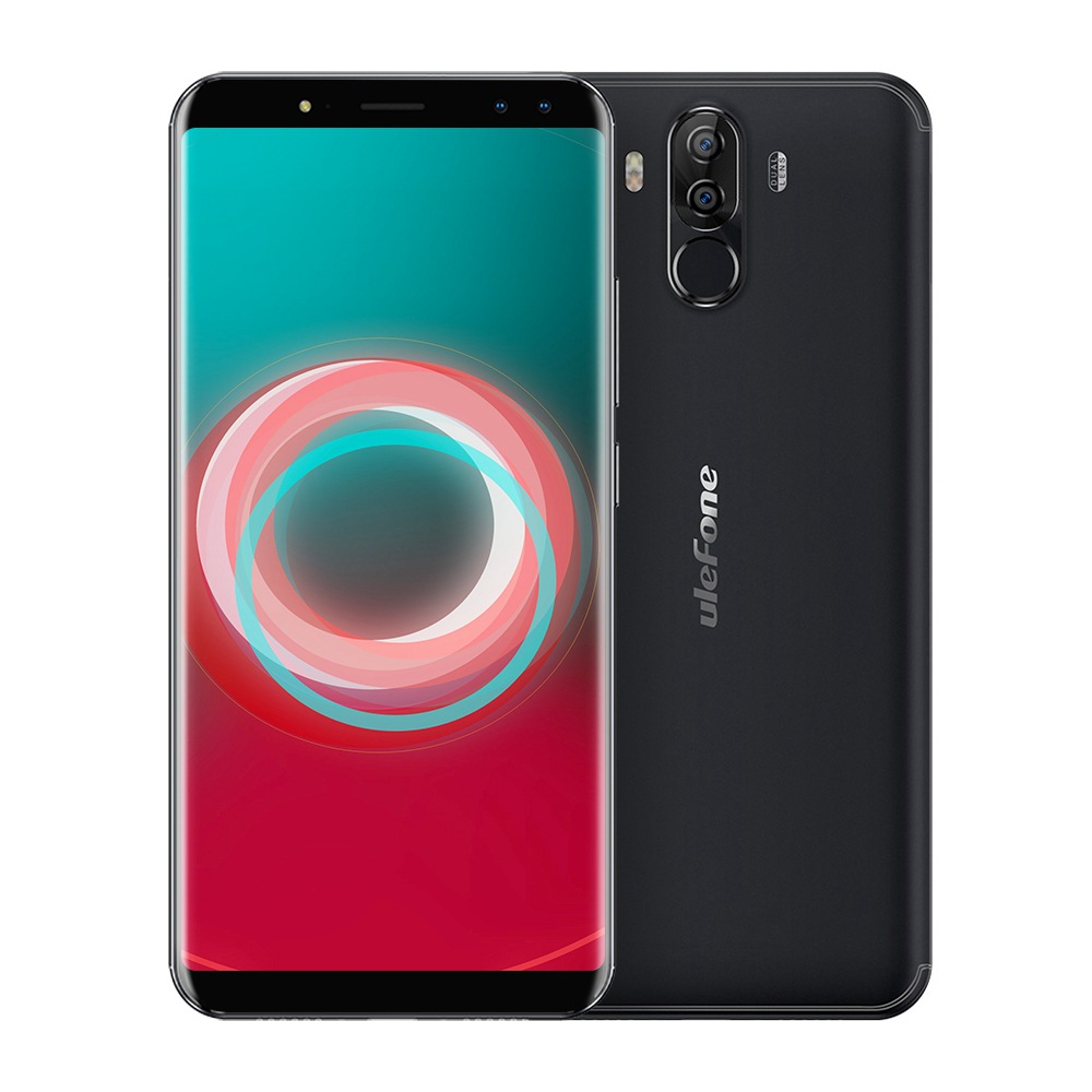 Ulefone Power 3S 6.0 Inch Smartphone FHD Screen 4GB 64GB Four Cameras Helio P23 Octa Core Android 7.1 Touch ID 6350mAh - Black