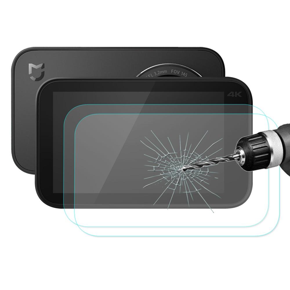 2PCSハットプリンス超薄9H 2.5D Xiaomi Mijia 4Kアクションカメラ用アーク強化ガラス保護フィルム - 透明