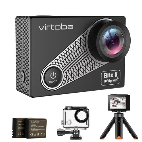 Virtoba Elite X iCatch SPCA6330M GC4603 2.0 Inch LCD Action Camera WiFi 1080P 30FPS 170 Degree Wide Angle Waterproof - Black