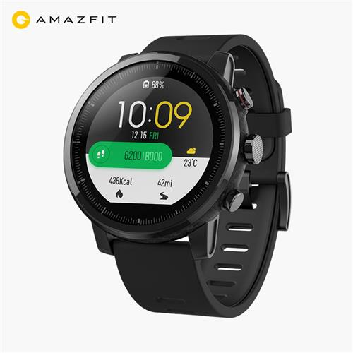 Xiaomi HUAMI AMAZFIT Stratos Smart Sports Watch 2 Support Strava 1.34 Inch Screen 5ATM GPS Firstbeat Swimming Mode WOS 2.0 With Silicone Strap English Version - Black