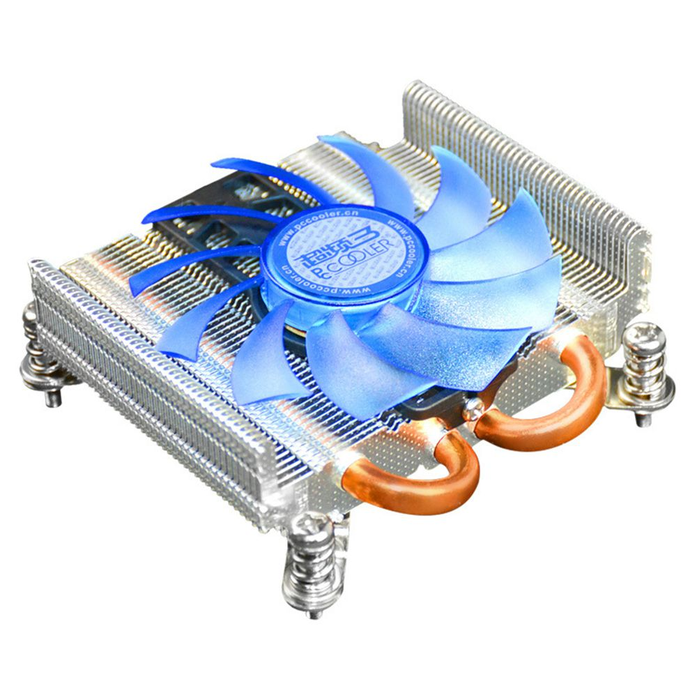 Pccooler S85 Ultra-thin Cooling Fan 4 Pin PWM 2 Heat Pipes For HTPC Mini Case For Intel 775/1155/1156 CPU - Silver