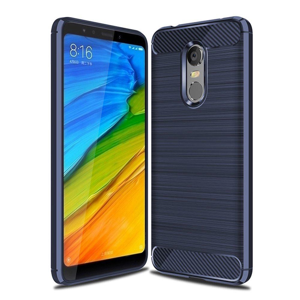 ブルーXiaomiレッドミ5プラス高品質の炭素繊維ブラシドロップ抵抗電話ケース
