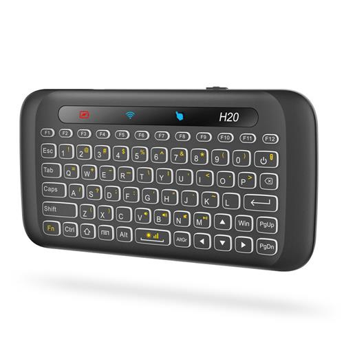 H20 Retroilluminazione bianca Schermo intero Touchpad Mini 2.4G Tastiera wireless per TV Box / Pad / Laptop / PC - Nero