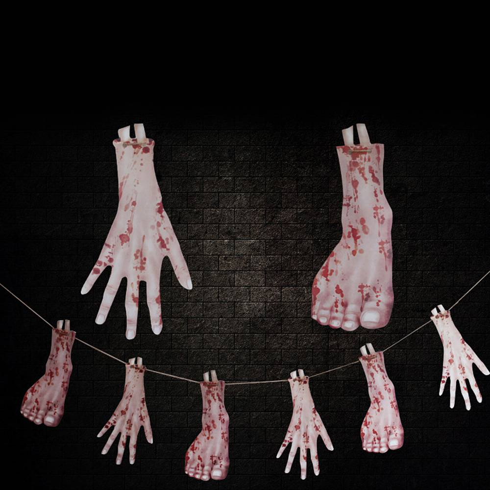 8 stili Halloween Blooding Knife piede a mano partito Haunted House Hanging Ghirlanda Pennant Halloween Banner Decoration-03