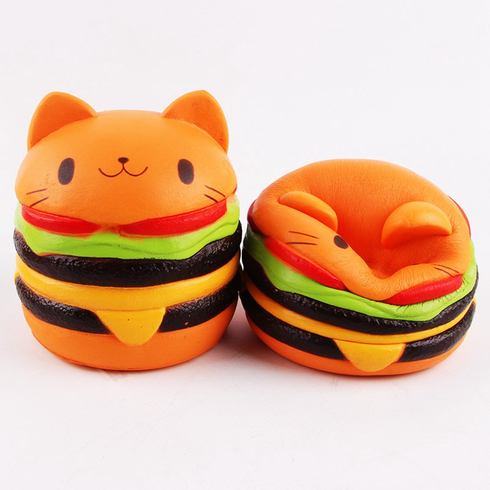 11*9.5CM Sanqi Elan Squishys Cat Burger Slow Rising Soft Animal Collection Gift Decor Toy