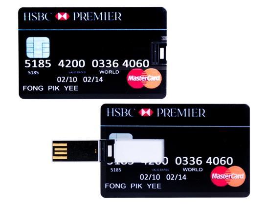 32GB HSBC銀行カードデザインUSBフラッシュドライブ - ブラック