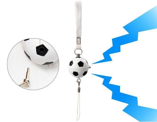 Çekme Tetik Futbol Şekilli Mini Yanıp Sönen Alarm - Beyaz