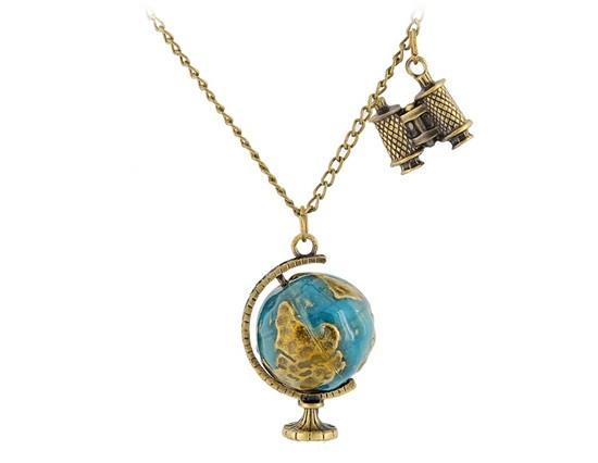 HP1568X  Bronze Alloy Binoculars & Globe Pendant Necklace