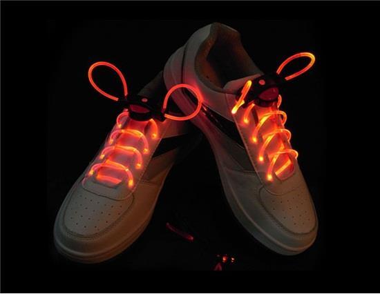 YJ461R أربطة الحذاء LED وامض Plat Plat - أحمر