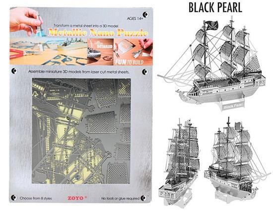 金属ナノパズルDIY 3Dブラックパール船レーザーカットモデル