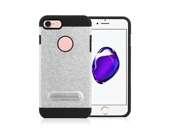 Angibabe Color Checkered TPU+PC Two in One with Stand Phone Case for iPhone 8 - Silver Other
