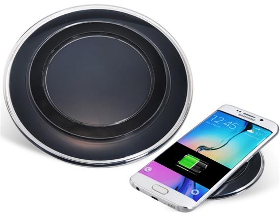 Round Wireless Charging Pad For Cellphones - Black