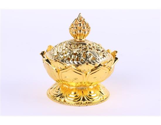 Tibetan Lotus Alloy Bronze Mini Incense Burner Metal Craft Home Decoration - Gold