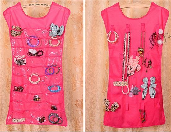 Платье Сумка для хранения ювелирных изделий Сумка для хранения в стойке Нетканые двухсторонние водонепроницаемые аксессуары Хранение на настенной сумке (роза)