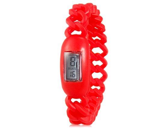 สร้อยข้อมือกำไลข้อมือ Anion Silicone Waterproof พร้อมนาฬิกาข้อมือปฏิทิน - สีแดง
