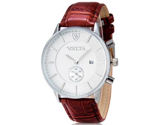 VALIA 8281 Men's Simple Casual Round Dial Analog Wrist Watch with Calendar & Faux Leather Band - Brown