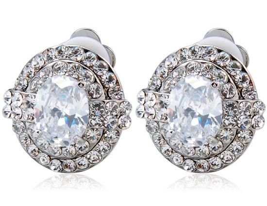 18K Alloy Crystal Decoration Clip-on Earrings - White