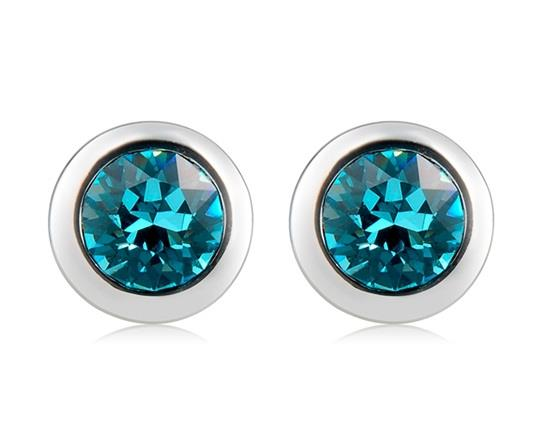 18K Gold Plated Alloy Crystal Decoration Stud Earrings - Silver + Blue