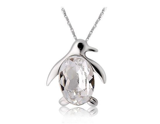 18K Collier Pendentif Pingouin Plaqué Or - Or Blanc