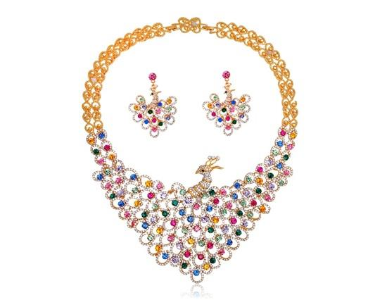 18K Плакированные серьги из ожерелья из сплава Набор красочных хрустальных украшенных Элегантный дизайн павлина - Золотой