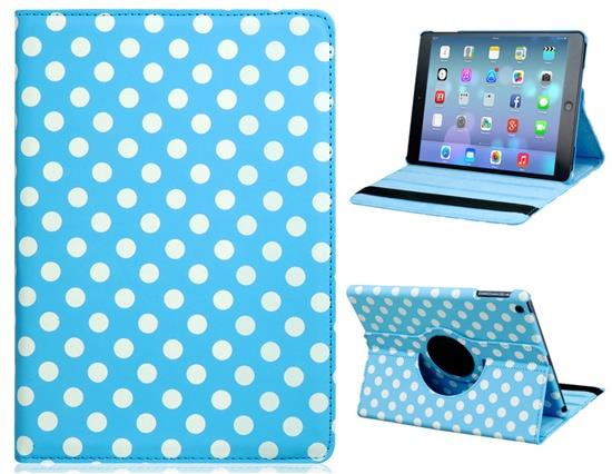 Polka Dot Print 360-Degree Rotation Faux Leather Flip Case with Stand for iPad Air -Blue Other